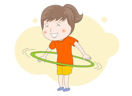 An illustration of a girl doing a hoop. Illustration