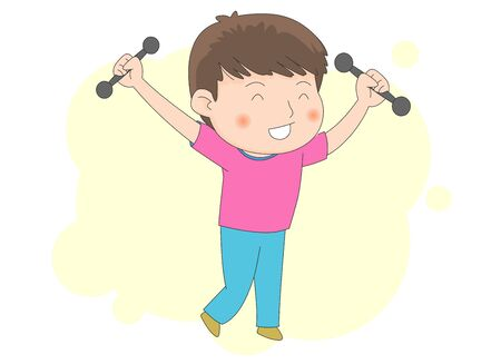 Illustration of a man exercising with dumbbells.