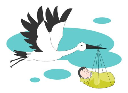 Crane biting a child An illustration flying in the sky.