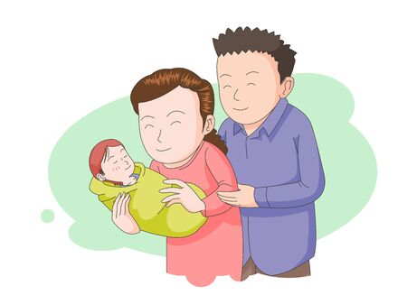 An illustration of mom and dad lovingly looking at a child. Vector Illustratie