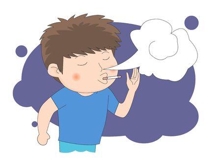Youth imitates adults, Illustration that smokes.