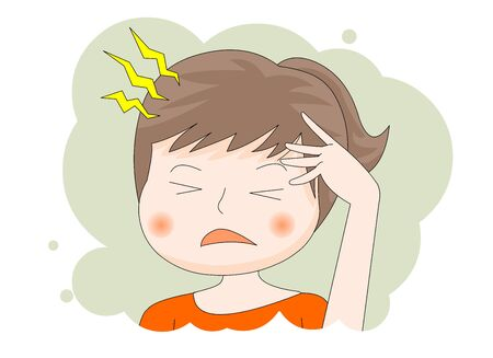 head hurts Afflicted Female upper body illustration.