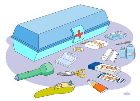 Illustration of a medicine box and various household first aid supplies.