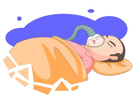 Illustration of a man patient lying down on a bed, wearing a respirator.