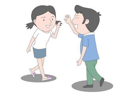 An illustration of a boy and a girl raising hands to greet.