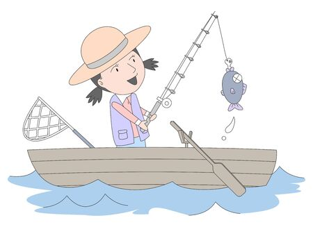Illustration of a girl fishing on a small boat.
