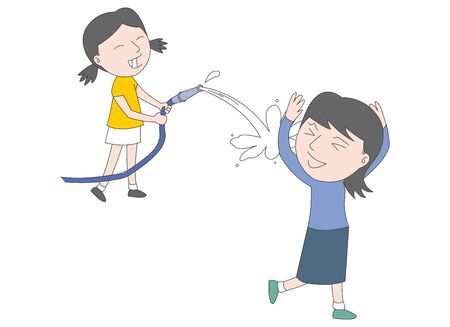 Illustration of a girl playing with water with a hose.