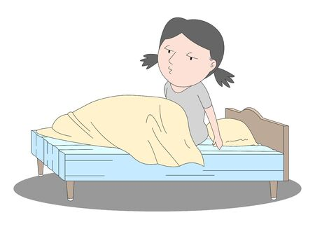 Illustration of a girl waking up with sleepy eyes in bed.