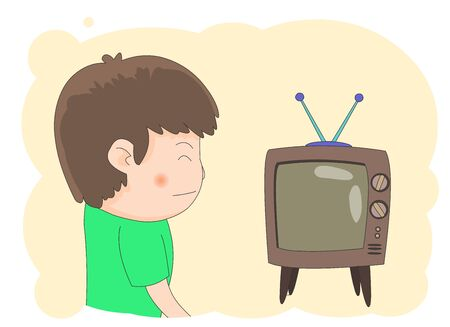 Illustration of a boy laughing and watching television.