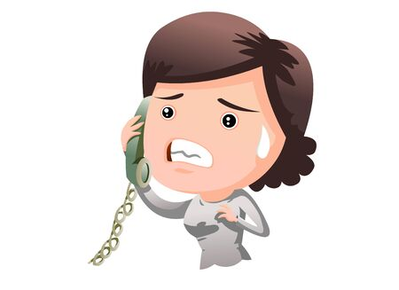 Illustration of a middle-aged woman sweating in disappointment while talking on the phone.