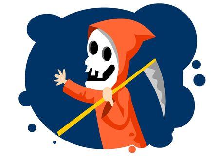 Skull ghost with a big scythe, halloween illustration. 向量圖像