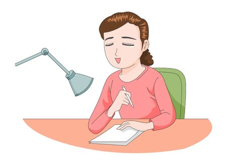 Illustration of a girl taking a letter or handwriting.