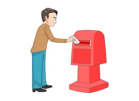 Illustration of a man putting a letter in a mailbox.