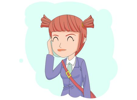 By mobile phone Illustration of a girl talking on the phone.
