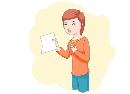 Illustration of a girl showing a paper and smiling.