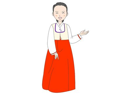 An illustration of a woman wearing a hanbok and introducing.