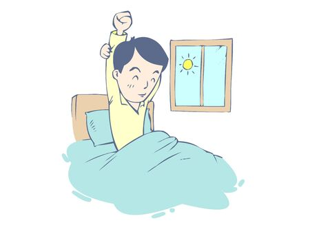 Get up from bed Illustration of a man stretching. Vettoriali