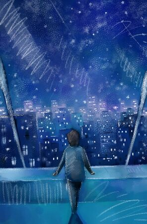 A person standing in front of a large glass window watching the night view of a snowy city.