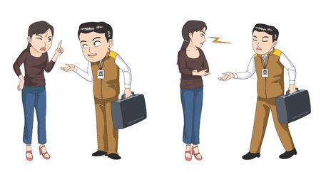 Customer and service engineer illustration