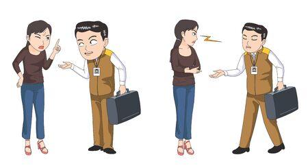 Customer and service engineer illustration