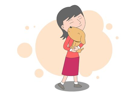 An illustration of a girl lovingly hugging a puppy.