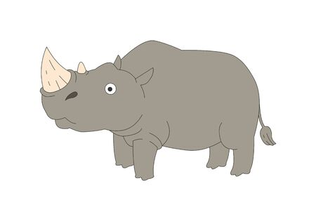 Comic animal character illustration, Rhinoceros 向量圖像