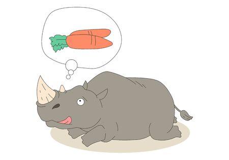 Comic animal character illustration, Rhinoceros Ilustração