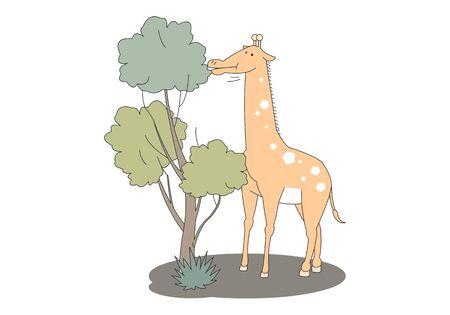 Comic animal character illustration, Giraffe