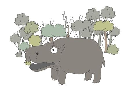 Comic animal character illustration, Hippopotamus