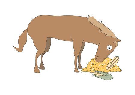 Comic animal character illustration, Horse