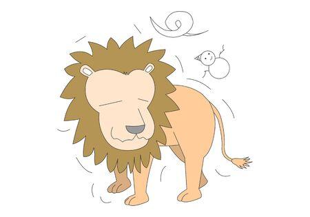 Comic animal character illustration, Lion