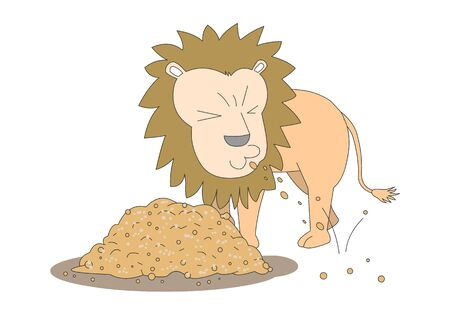 Comic animal character illustration, Lion