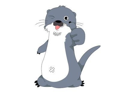 Comic animal character illustration, Otter
