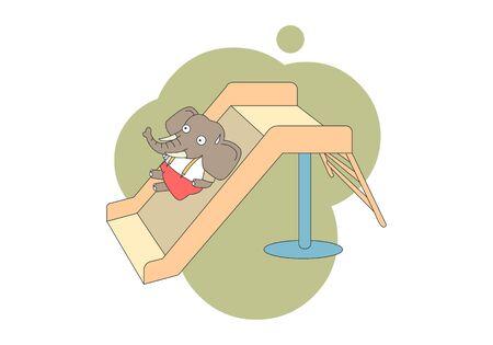 Comic animal character illustration, Elephant