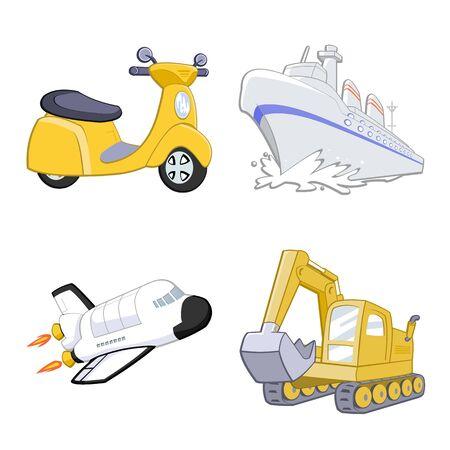 Cute transportation on white background illustration