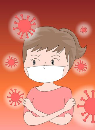 Around the virus spread Illustration wearing a mask and trembling in fear.