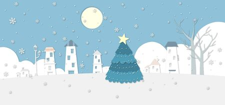 illustration of winter scenery with christmas tree