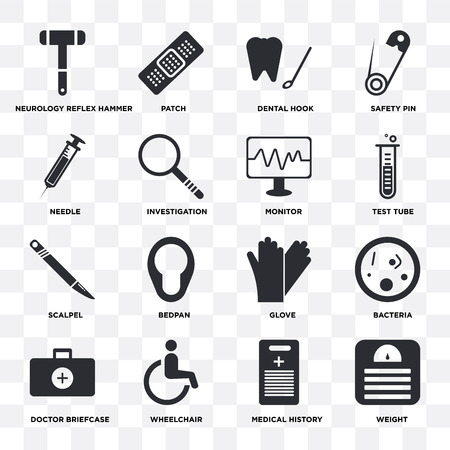 Set Of 16 icons such as Weight, Medical history, Wheelchair, Doctor briefcase, Bacteria, Neurology reflex hammer, Needle, Scalpel, Monitor on transparent background, pixel perfect Ilustração