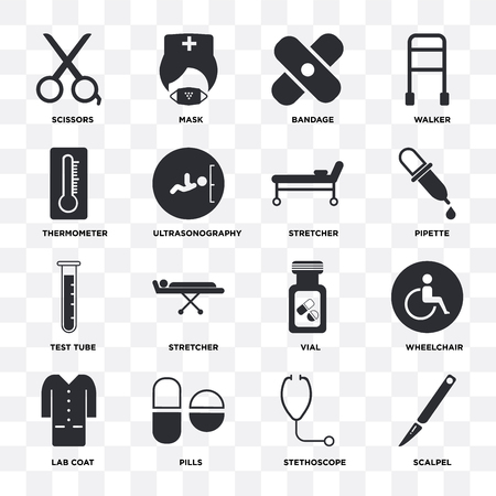 Set Of 16 icons such as Scalpel, Stethoscope, Pills, Lab coat, Wheelchair, Scissors, Thermometer, Test tube, Stretcher on transparent background, pixel perfect Ilustración de vector