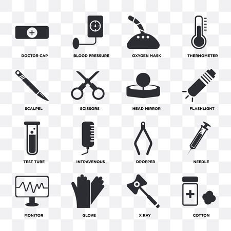 Set Of 16 icons such as Cotton, X ray, Glove, Monitor, Needle, Doctor cap, Scalpel, Test tube, Head mirror on transparent background, pixel perfect
