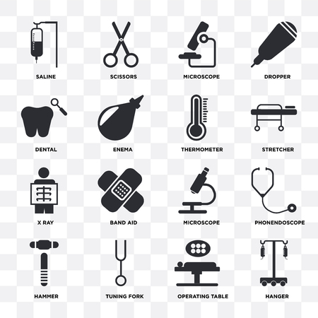Set Of 16 icons such as Hanger, Operating table, Tuning fork, Hammer, Phonendoscope, Saline, Dental, X ray, Thermometer on transparent background, pixel perfect