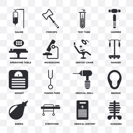 Set Of 16 icons such as Scissors, Medical history, Stretcher, Enema, Bedpan, Saline, Operating table, Weight, Dentist chair on transparent background, pixel perfect Ilustración de vector