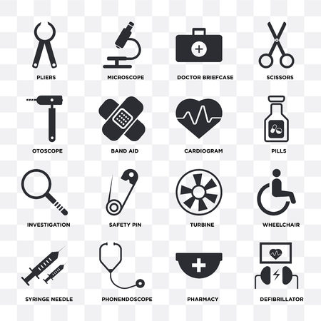 Set Of 16 icons such as Defibrillator, Pharmacy, Phonendoscope, Syringe needle, Wheelchair, Pliers, Otoscope, Investigation, Cardiogram on transparent background, pixel perfect