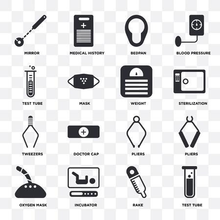 Ensemble de 16 icônes telles que tube à essai, râteau, incubateur, masque à oxygène, pinces, miroir, pince à épiler, poids sur fond transparent, pixel parfait