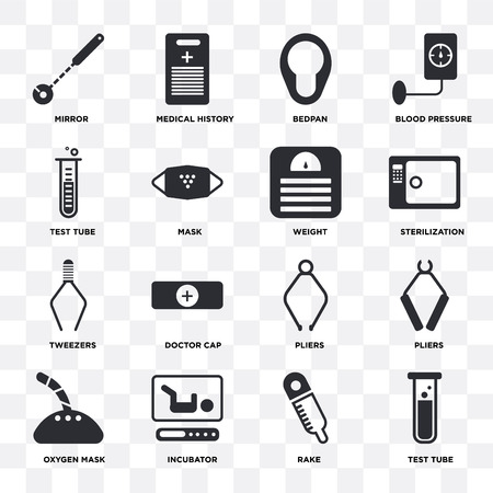 Set Of 16 icons such as Test tube, Rake, Incubator, Oxygen mask, Pliers, Mirror, Tweezers, Weight on transparent background, pixel perfect Illustration