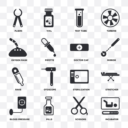 Set Of 16 icons such as Incubator, Scissors, Pills, Blood pressure, Stretcher, Pliers, Oxygen mask, Rake, Doctor cap on transparent background, pixel perfect