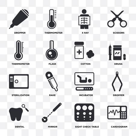 Ensemble de 16 icônes telles que cardiogramme, table de contrôle de la vue, miroir, dentaire, compte-gouttes, thermomètre, stérilisation, coton sur fond transparent, pixel parfait
