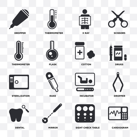 Set Of 16 icons such as Cardiogram, Sight check table, Mirror, Dental, Dropper, Thermometer, Sterilization, Cotton on transparent background, pixel perfect