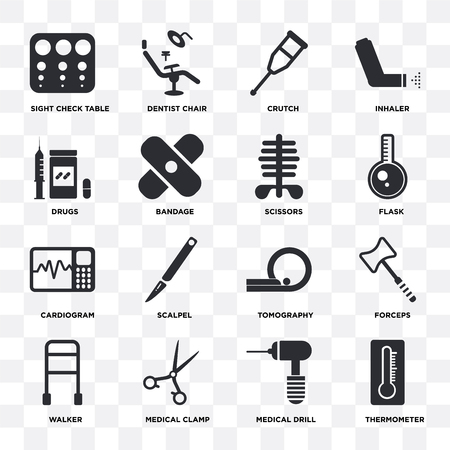 Set Of 16 icons such as Thermometer, Medical drill, clamp, Walker, Forceps, Sight check table, Drugs, Cardiogram, Scissors on transparent background, pixel perfect Illustration
