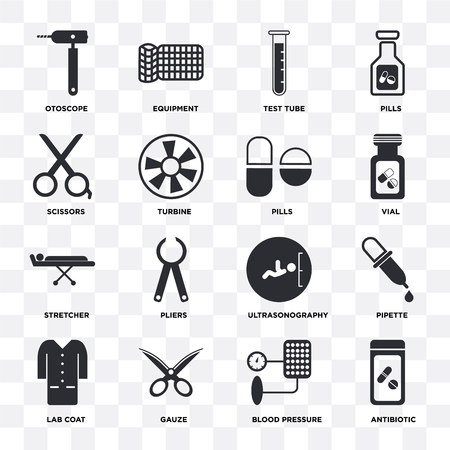 Set Of 16 icons such as Antibiotic, Blood pressure, Gauze, Lab coat, Pipette, Otoscope, Scissors, Stretcher, Pills on transparent background, pixel perfect